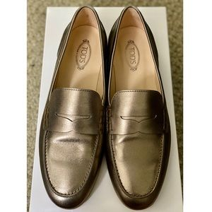 🔥NEW Tod's Metallic Gommino Driving Shoes - US 37